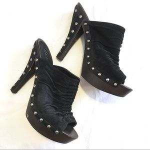 Guess Shoes - GUESS Black Leather Suede Victorian Stiletto Mules